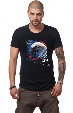 Tricou Negru Barbati - Imprimeu Eagle Blue