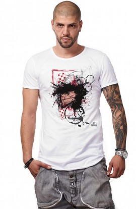 Tricou Alb Barbati - Imprimeu Grunge Dreams - Design Unic Si Original Moss