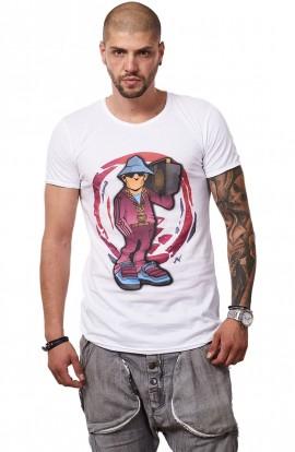 Tricou Alb Barbati - Imprimeu Street Rapper Purple - Design Unic Si Original Moss