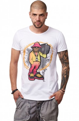 Tricou Alb Barbati - Imprimeu Street Rapper Yellow - Design Unic Si Original Moss