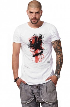 Tricou Alb Barbati - Imprimeu The Crow's Attack - Design Unic Si Original Moss