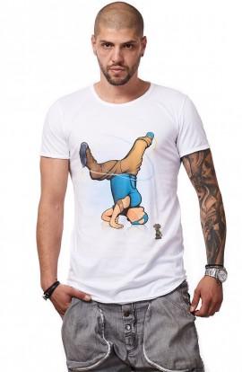 Tricou Alb MOSS - Imprimeu Breakdancer Blue - #vreausaajut