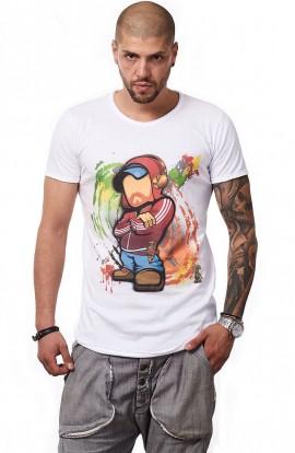 Tricou Alb MOSS - Imprimeu Dj Mc Red - #vreausaajut