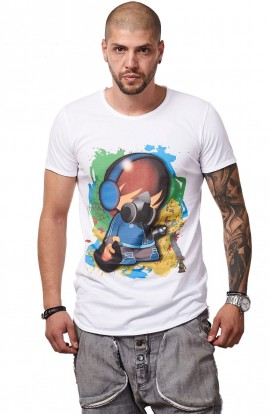 Tricou Alb MOSS - Imprimeu Dj Tiny Blue - #vreausaajut