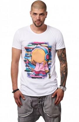 Tricou Alb MOSS - Imprimeu Skater Girl Pink - #vreausaajut