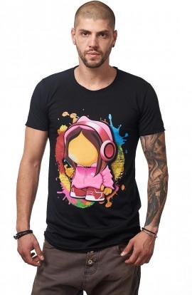 Tricou Negru Barbati - Imprimeu Cellphone Girl Pink - Design Unic Si Original Moss