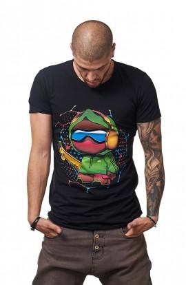 Tricou Negru Barbati - Imprimeu Skater Boy Green - Design Unic Si Original Moss