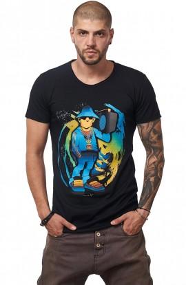 Tricou Negru Barbati - Imprimeu Street Rapper Blue - Design Unic Si Original Moss