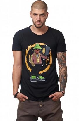 Tricou Negru Barbati - Imprimeu Street Rapper Gray - Design Unic Si Original Moss