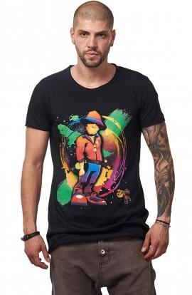 Tricou Negru MOSS - Imprimeu Vinyl Guy Orange - #vreausaajut