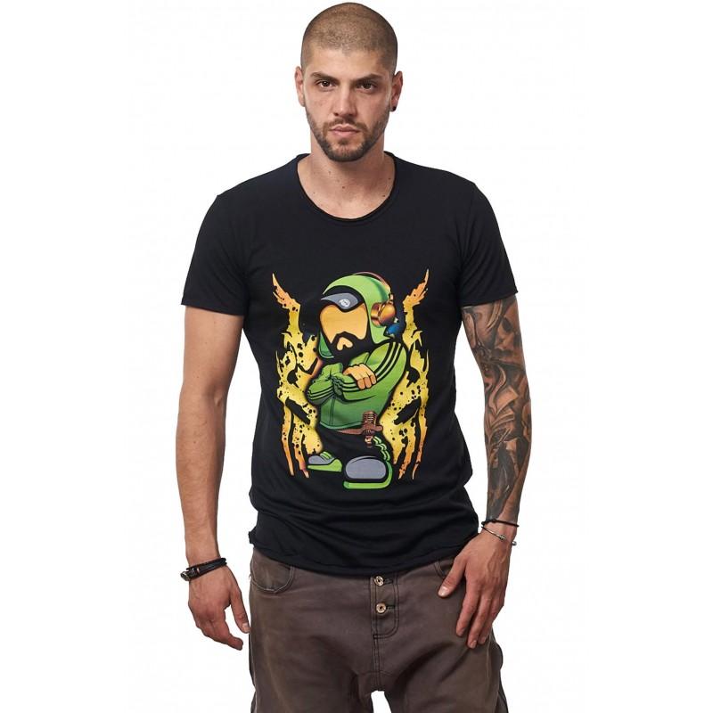 Tricou Negru Barbati - Imprimeu Dj Mc Green - Design Unic Si Original Moss