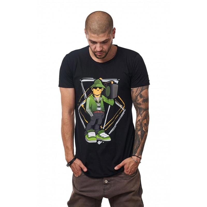 Tricou Negru Barbati - Imprimeu Street Rapper Green - Design Unic Si Original Moss