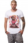 Tricou Alb Barbati - Imprimeu Dj Mc Pink - Design Unic Si Original Moss