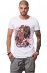 Tricou Alb Barbati - Imprimeu Street Rapper Red - Design Unic Si Original Moss