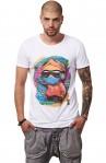 Tricou Alb MOSS - Imprimeu Skater Boy Orange - #vreausaajut