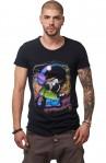 Tricou Negru MOSS - Imprimeu Dj Tiny Neon - #vreausaajut