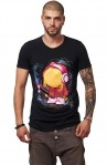 Tricou Negru MOSS - Imprimeu Skater Girl Fusia - #vreausaajut